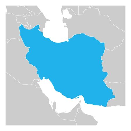 Map of Iran blue highlighted with neighbor countries.