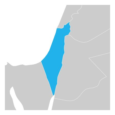 Map of Israel blue highlighted with neighbor countries.