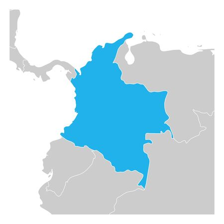 Map of Colombia green highlighted with neighbor countries.