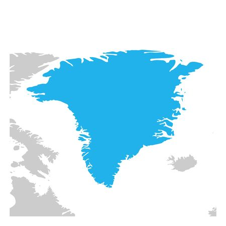 Map of Greenland green highlighted with neighbor countries.