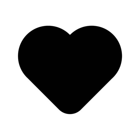 Black rounded heart. Symbol of love and St Valentines Day. Vector illustration. Иллюстрация