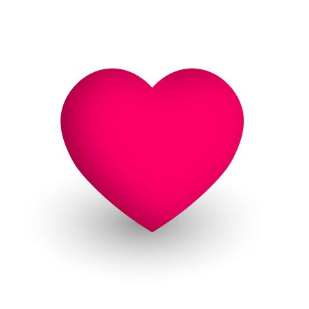 Pink heart. Symbol of love and St Valentines Day. 3D vector illustration.