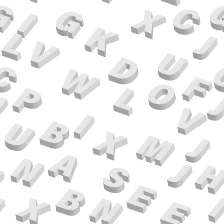 Mosaic of white 3D letters. Vector seamless pattern.
