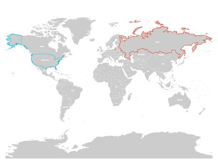 United States and Russia highlighted on political map of World. Vector illustration.