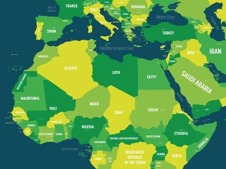 Mappa dell'Africa settentrionale - tonalità verde colorata su sfondo scuro. Mappa politica altamente dettagliata della regione dell'Africa settentrionale con l'etichettatura dei nomi di paesi, capitali, oceani e mari.