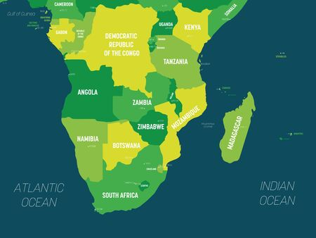 Southern Africa map - green hue colored on dark background. High detailed political map of southern african region with country, capital, ocean and sea names labeling.