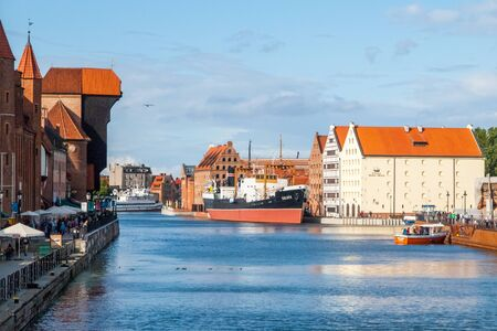 GDANSK, POLAND - AUGUST 25, 2014: SS Soldek ship - polish coal and ore freighter. On Motlawa River at National Maritime Museum in Gdansk, Poland. 에디토리얼