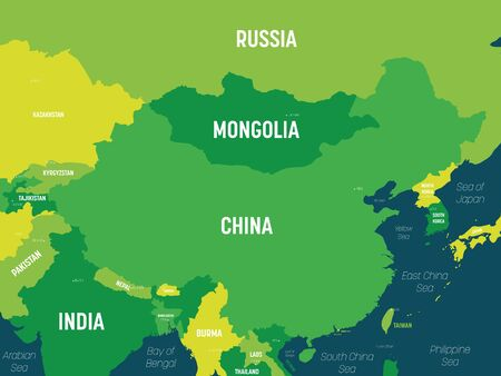 China map - green hue colored on dark background. High detailed political map of China and neighboring countries with country, capital, ocean and sea names labeling.