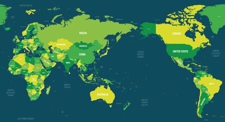 World map - Asia, Australia and Pacific Ocean centered. Green hue colored on dark background. High detailed political map of World with country, capital, ocean and sea names labeling.