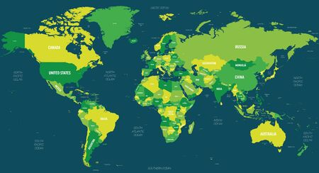 World map - green hue colored on dark background. High detailed political map of World with country, capital, ocean and sea names labeling.