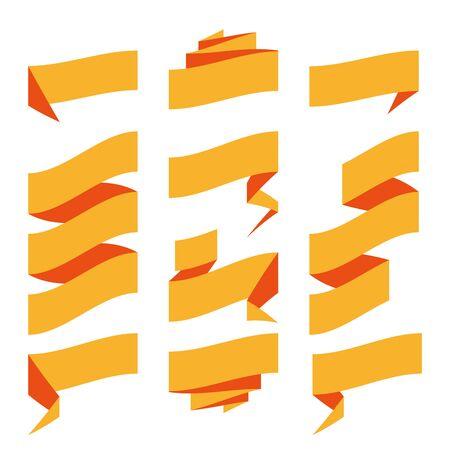 Folded ribbon banner set. Collection of orange label templates. Vector illustration. Ilustrace