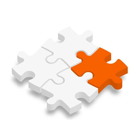 3D jigsaw puzzle pieces. White pieces with one orange highlighted. Team cooperation, teamwork or solution business theme. Vector illustration with dropped shadow.