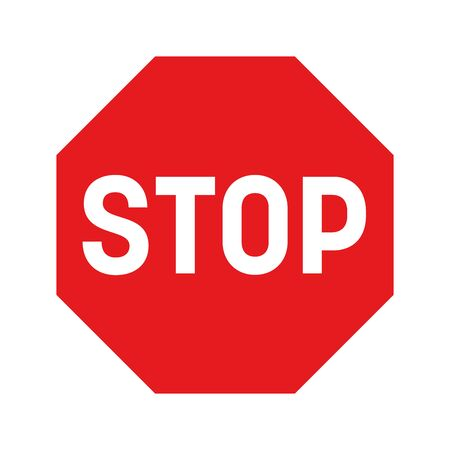 Stop traffic sign. Red octagon with white inscription. Simple flat vector icon.