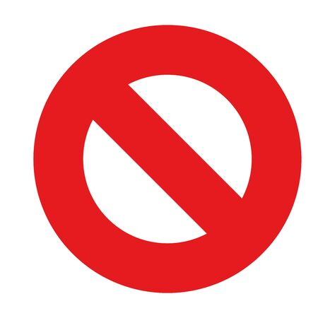 Prohibition or ban sign. Red strikethrough circle. Simple flat vector icon.
