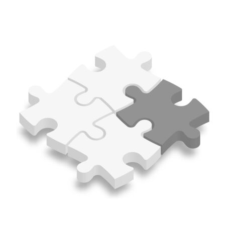 3D jigsaw puzzle pieces. White pieces with one dark grey highlighted. Team cooperation, teamwork or solution business theme. Vector illustration with dropped shadow.