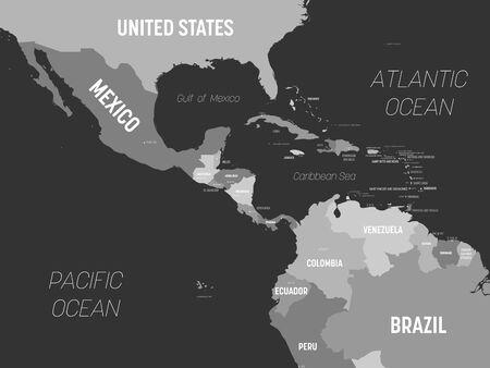 Mappa dell'America centrale - di colore grigio su sfondo scuro. Mappa politica altamente dettagliata della regione dell'America centrale e dei Caraibi con l'etichettatura dei nomi di paesi, capitali, oceani e mari.
