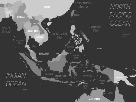 Southeast Asia map - grey colored on dark background. High detailed political map of southeastern region with country, capital, ocean and sea names labeling.