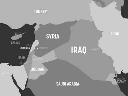 Middle East map - grey colored on dark background. High detailed political map of Middle East and Arabian Peninsula region with country, capital, ocean and sea names labeling.