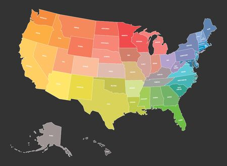 Map of USA, United States of America, in colors of rainbow spectrum. With state names. Illustration