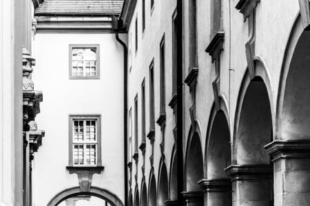 Row of architectural columns in historical archway. Black and white image.