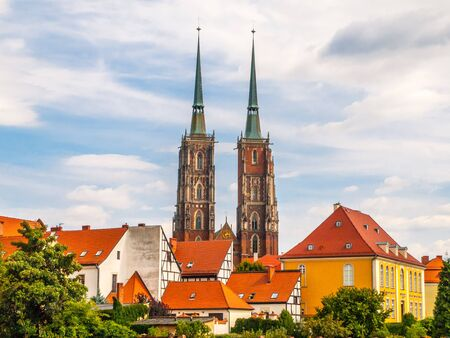 Gothic style Cathedral of St. John the Baptist on Tumski Island, Wroclaw, Poland.