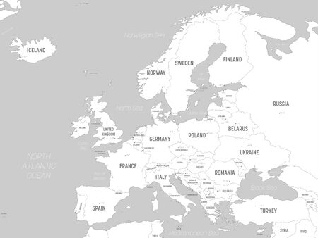 Carte de l'Europe - terres blanches et eaux grises. Carte politique très détaillée du continent européen avec étiquetage des noms de pays, de capitale, d'océan et de mer. Vecteurs