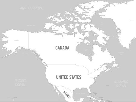 North America map - white lands and grey water. High detailed political map North American continent with country, capital, ocean and sea names labeling. Иллюстрация