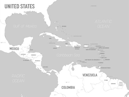 USA map - white lands and grey water. High detailed political map United States of America and neighboring countries with country, capital, ocean and sea names labeling. Иллюстрация