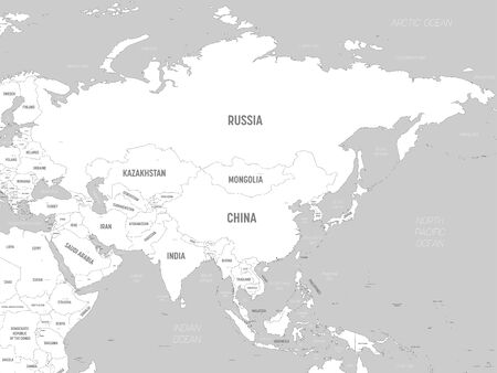 Asia - white lands and grey water. High detailed political map of asian continent with country, capital, ocean and sea names labeling.