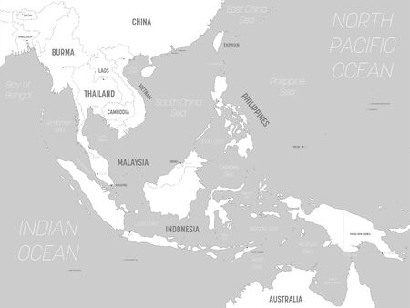 Southeast Asia map - white lands and grey water. High detailed political map of southeastern region with country, capital, ocean and sea names labeling. Иллюстрация