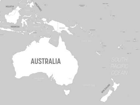 Australia and Oceania map - white lands and grey water. High detailed political map of australian and pacific region with country, capital, ocean and sea names labeling.