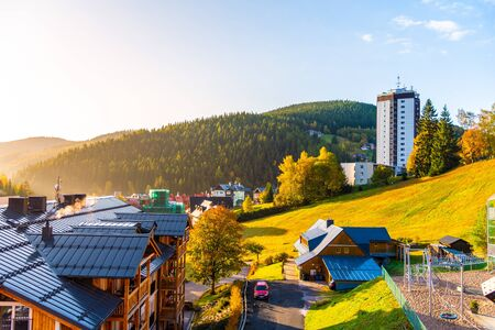 Modern high building in the centre of Pec pod Snezkou in Giant Mountains, Krkonose National Park, Czech Republic.