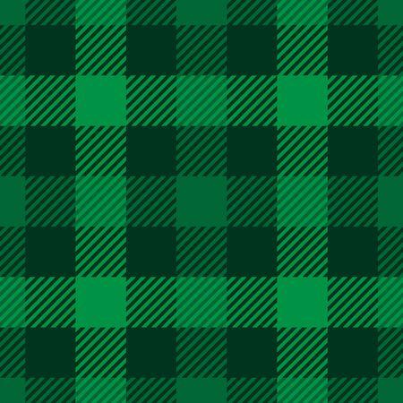 Lumberjack plaid pattern in green colors. Saint Patricks Day theme. Seamless vector pattern. Simple vintage textile design.
