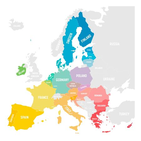 Colorful vector map of EU, European Union. Member states after brexit in 2020.