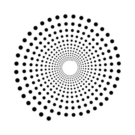 Black dotted spiral symbol. Simple flat vector design element.