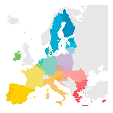 Colorful vector map of EU, European Union. Member states after brexit in 2020. Ilustracja