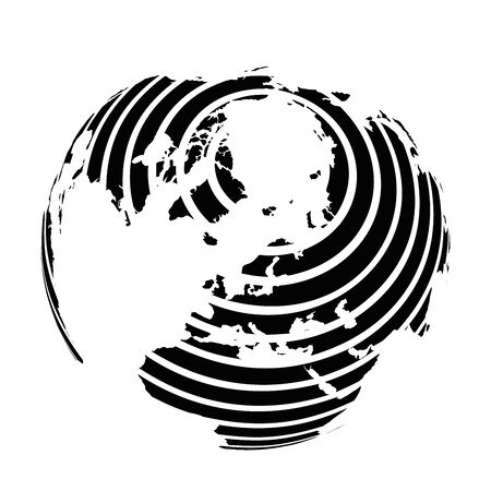 Striped Earth globe focused on Europe and Antarctica with North Pole. Black vector illustration. Ilustracja