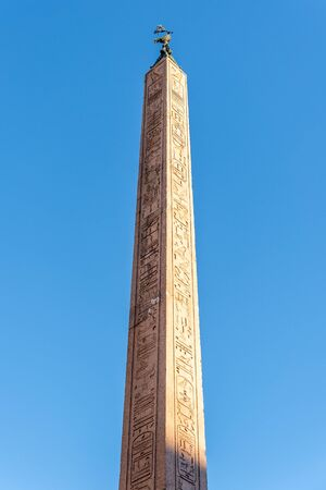 Detailed view of Egyptian obelisk. Part of Four Rivers Fountain on the Piazza Navona, Rome, Italy.