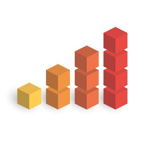 Bar chart of 4 growing columns. 3D isometric colorful vector graph. Economical growth, increase or success theme.