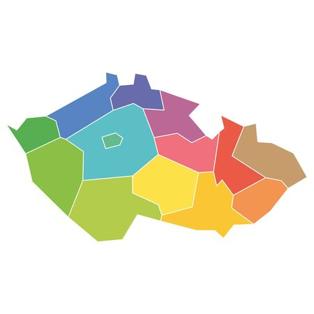 Regions of the Czech Republic. Map of regional country administrative divisions. Colorful vector illustration.