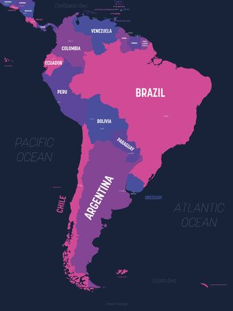 South America map. High detailed political map South American continent with country, capital, ocean and sea names labeling.