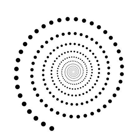 Black dotted spiral symbol. Simple flat vector design element.