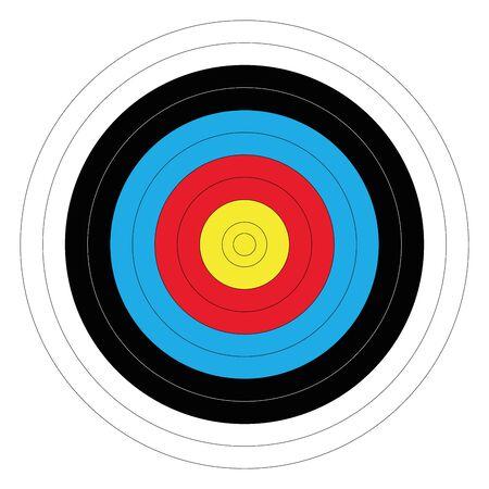 Cible de tir à l'arc en plein air aux couleurs traditionnelles - jaune, rouge, bleu, noir et blanc. Illustration vectorielle.