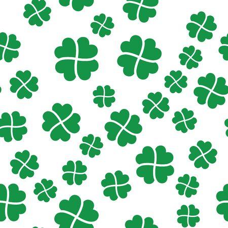 Green shamrock seamless pattern. Background of fourleaf clovers. Simple flat vector illustration. Ilustrace