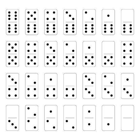 Domino set of 28 tiles. White pieces with black dots. Simple flat vector illustration. Vectores