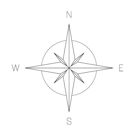 Compass rose - nautical chart. Travel equipment displaying orientation of world directions - north, east, south and west. Simple flat vector illustration.