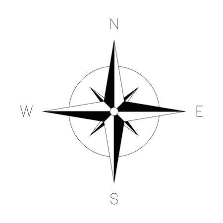 Rose des vents - carte marine. Équipement de voyage affichant l'orientation des directions du monde - nord, est, sud et ouest. Illustration vectorielle.