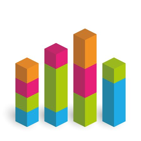 Bar Chart Of 4 Growing Columns 3d Isometric Colorful Vector