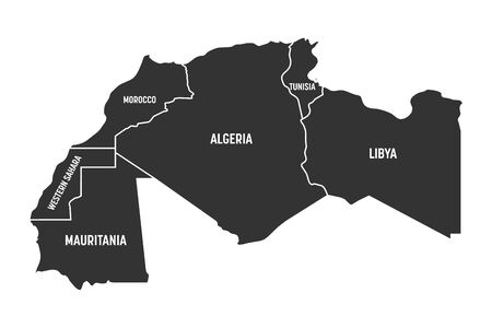 Map of Maghreb countries - Northwest Africa states. Vector illustration. 일러스트