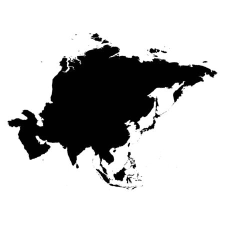 Asia black silhouette. Contour map of continent. Simple flat vector illustration. 向量圖像